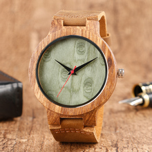 Creative Analog Wood Watches Men's Genuine Leather Strap Wrist Watch Bmaboo 100% Nature Wooden Watches Handmade Clock Gift