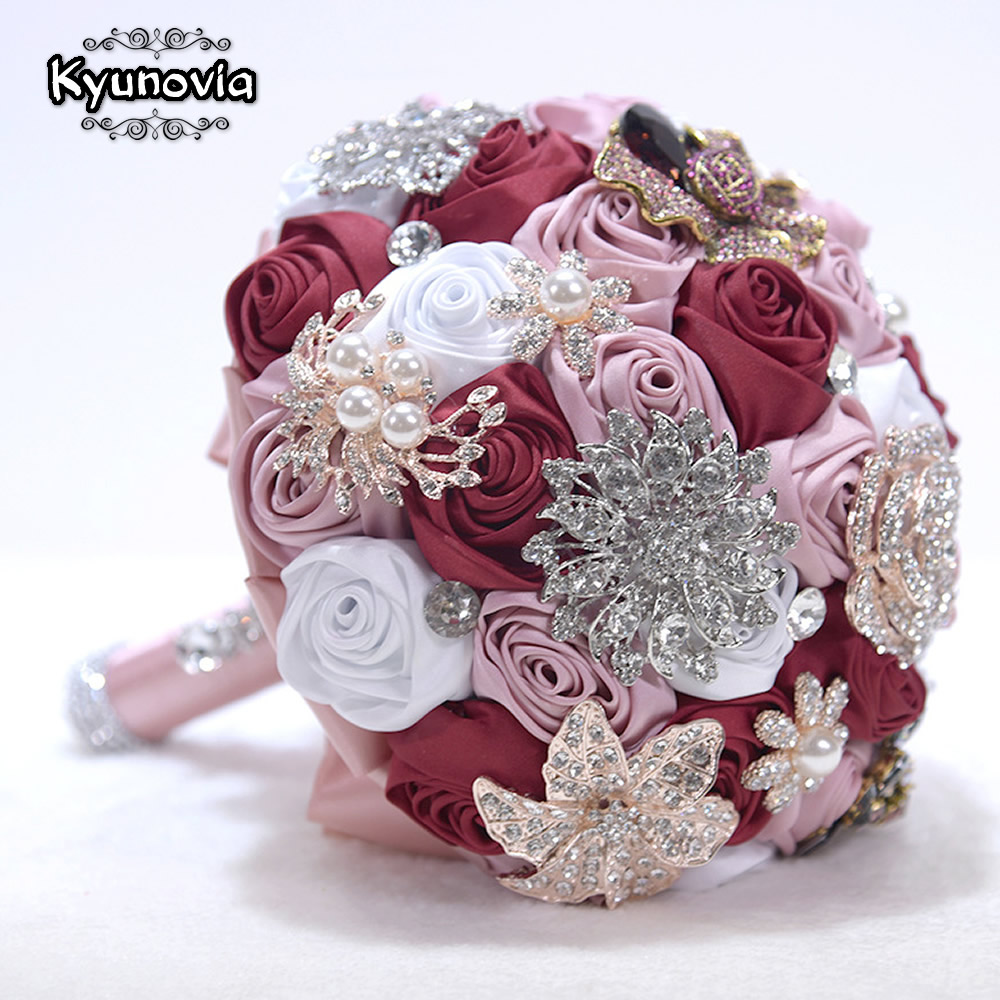 Blush pink burgundy Brooch Bouquet Rose Gold Jeweled Wedding Bridal Crystal Bling Boquet Luxury bouquet by Memory Wedding D59