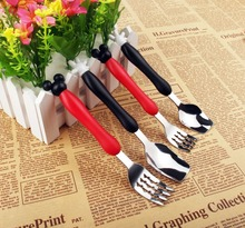 Lovely 3D Mickey & Minnie Mouse Fork Spoon Set High Quality Stainless steel Baby Spoon Snacks Honey Spoon