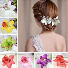 New Bohemia Style Orchid Peony Flowers Hair Clips Hairpins for Women Hair Accessories for Beach 8 colors