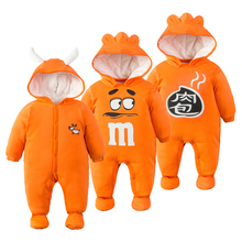 Baby fashion clothes suit for 0-2 year old newborn baby winter autumn high quality cotton-padded romper autumn wadded jacket(China)