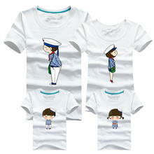 Ming Di Brand Family Look 2016 Summer Navy Family Matching Outfits 100%Cotton T Shirt Short Sleeve Mom Dad Children's Clothing