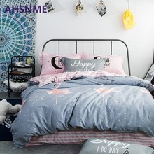 AHSNME 100% Cotton Bedding Items Europe Russia Australia size Pink + Gray Quilt Cover Pentagram and Flamingo Pattern Bedding(China)