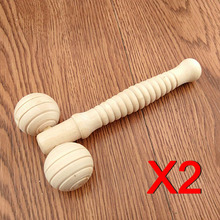 2pcs Body Care Face-lift Slimming Remove Line Massager Handle Wooden Tools 2 Face Neck Chin Relaxing Roller Massagers @(China)