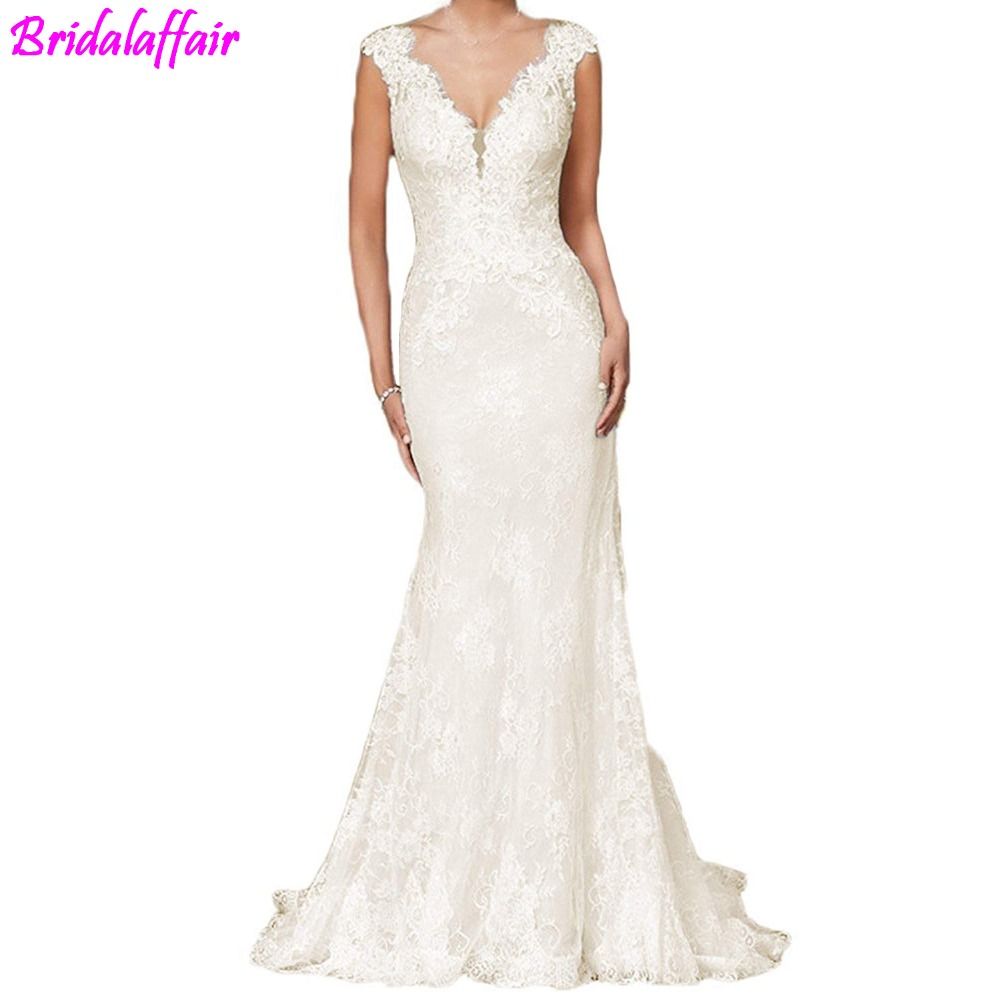 Women Elegant Wedding Dress Mermaid  V-Neck for Bride 2019 robe de mariee Mermaid Wedding Dresses White Lace Wedding Dress