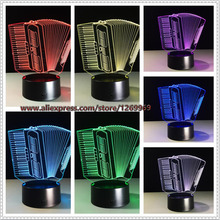 2017 Music Instrument Accordion 3D USB LED Lamp Romantic 7 Colors Changing Mood Atmosphere Table Decoration Night Light Gift