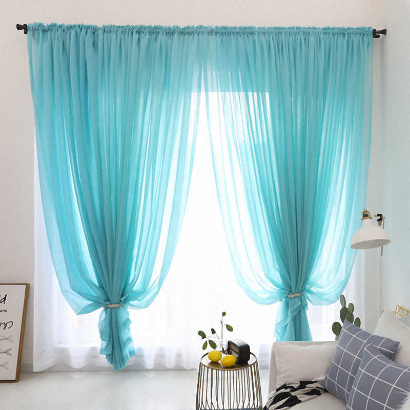 Kitchen Tulle Curtains for Living Room Decoration Modern Solid Sheer Voile Window Curtain (8 Color) One panel