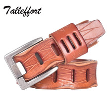 TALLEFFORT new stylish Mens Belts luxury for women 100% real genuine Leather high quality jeans cowboy hot designer