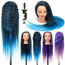 "26"" Hairdressing Training Head Model Colorful High Temperature Fiber Long Hair With Clamp Salon Practice Doll Mannequin Head(China)"