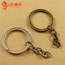 30*3*2MM/34MM Antique Bronze split key ring clasps and hooks, DIY jewelry accessories wholesale key holder, silver key hanger(China)