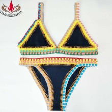 2017 Summer Sexy Women Handmade Crochet Bikini Color Knit Suit Spell Color Triangle Swimming Trunks Swimsuit Beach Swimwear