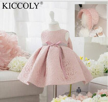 2017 Infant Baby Girl Birthday Party Dresses Baptism Christening Easter Gown Toddler Princess Lace Flower Dress for 0-2 Years