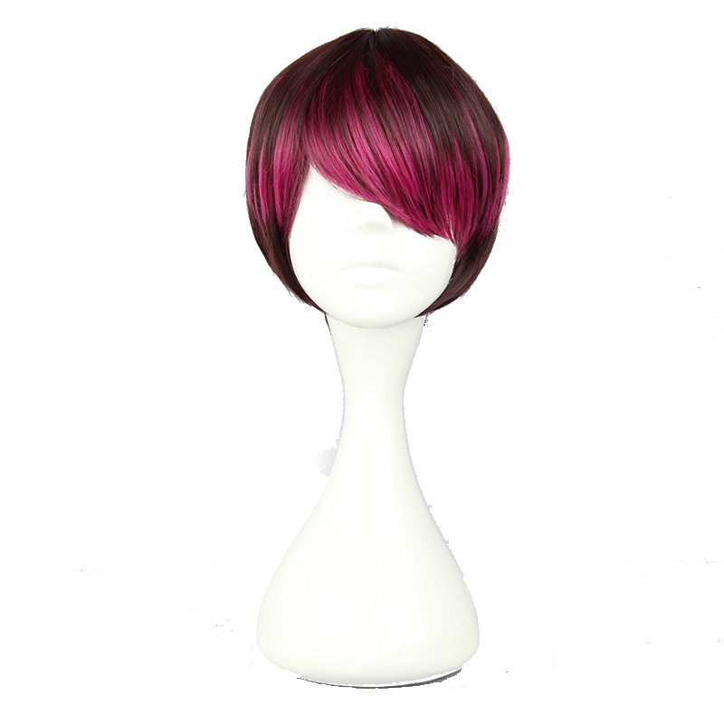 Your Style 4 Colors Short Bob Cosplay Wigs Ombre Red Brown Black White Hairstyle Short Hair Mens High Temperature Fiber(China (Mainland))