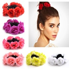 Ma'am Hair Circle Fabric Flower Hair Rope Handmade Soft Chiffon Hair Circles Elastic Hair Ties Ponytail Holder women headband