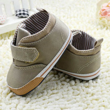 Newborn Baby Boys Cotton Ankle Canvas High Crib Shoes Casual Sneaker Toddler First Walkers(China)