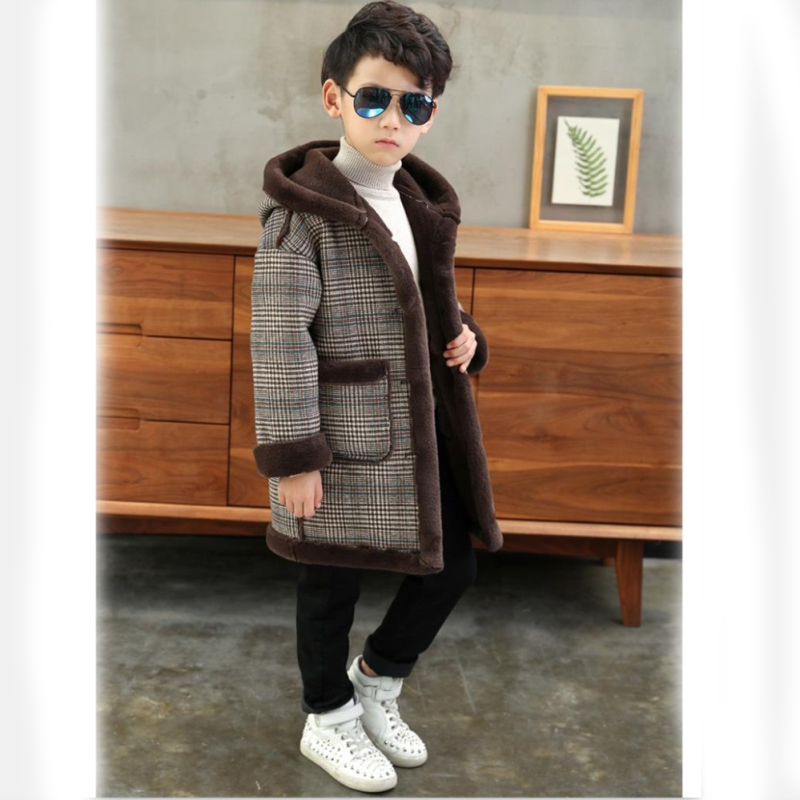 New Fashion lattice high quality Children Woolen Coat for Boys Hot Autumn Winter Fashion Buttons Kids Clothes Woolen coat