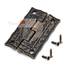 Wholesale Antique Hinges for Cabinet Trunk Jewelry Box Storage box Furniture Hardware Door Hinges Imitation Bronze