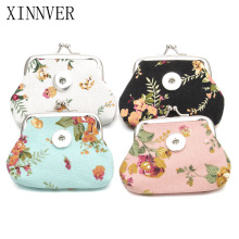 New 4 Colors 18MM Snap Buttons Jewelry Flower Coin Purses Wallets Kids Girl Women's Bags Pouch For Gift ZN011