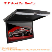 "Stylish Gray 17.3"" inch LED Display 12V~24V Roof Mount Car Monitor Flip Down Car Monitor Player + 1080P HDMI USB SD IR FM MP5"