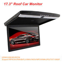 "Stylish 17.3"" inch LED Display 12V~24V Roof Mount Car Monitor Flip Down Car Monitor Player + 1080P HDMI USB SD IR FM MP5(China)"