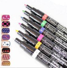 Black&White Charm Painting UV Gel Polish Manicure Nail Art Pen Painting Design Tools Painting Pen Tool, 2 Pcs/Lot
