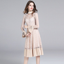 Buy XF 2018 Spring High Fashion Designer Runway Summer Retro Pleating V-Neck Flare Sleeve Lace Hollow Pleated Slim Dress for $64.90 in AliExpress store