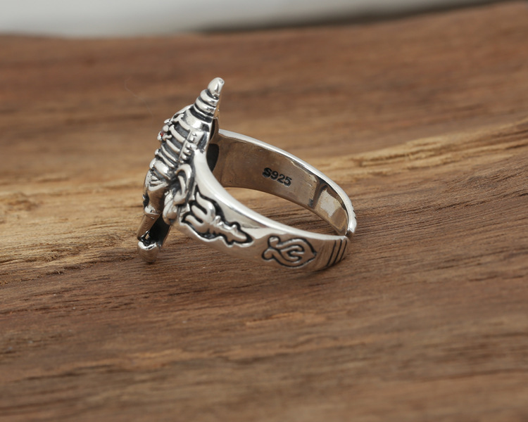 Gorgeous 925 Sterling Silver Ganesh Ring s925 brand