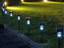 Free Shipping 10Pcs/lot Outdoor Stainless Steel Led Solar Power Lights Lawn Landscape Path Light Solar Lamp