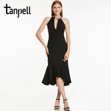Tanpell halter neck short cocktail dress black sleeveless tea length mermaid gown women bead backless homecoming cocktail dress(China)