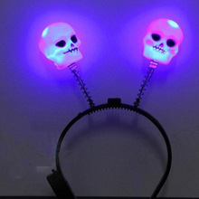 2017 Light Up Headband Flashing Skull Blinking LED Party Supply  Hair  Fun Decoration Rave Party Glow Party Supplies Halloween