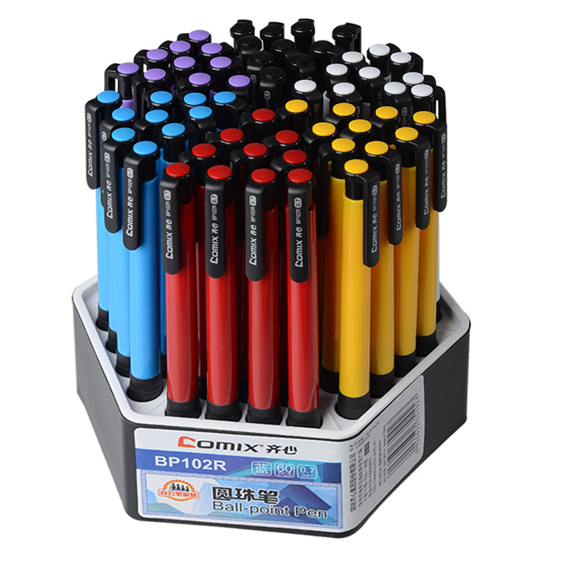 60 pcs Comix office supplies press blue ballpoint pen<br>