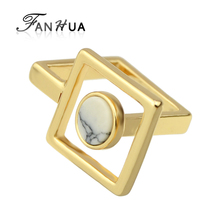 FANHUA Top Quality Gold-Color Punk Rock Ring White Marble Geometric Finger Rings Female Women Jewelry