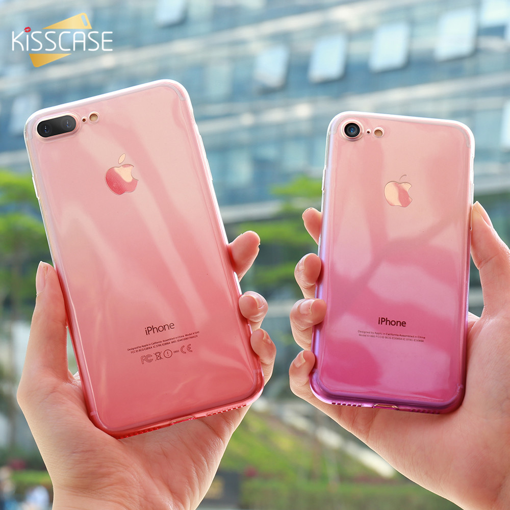 KISSCASE For iPhone 7 Case Soft Gradient Silicone Cases For iPhone 7 Plus Ultra Slim Silicone Bumper Phone Back TPU Cover Coque(China)