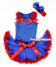 Royal Blue Baby Pettitop & Red Ruffles & Red Bow, Royal Blue Red Newborn Pettiskirt, Red Headband Royal Blue Silk Bow MANG1335