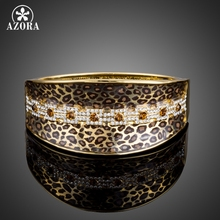AZORA Party Jewelry Leopard Pattern Gold Color Stellux Austrian Crystal Cuff Bangle Bracelet TB0078(China)