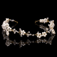 Pearl Beauty Pageant Crowns Crystal Prom Queen Tiara Rhinestone Wedding Hair Accessories Bridal Head Jewelry