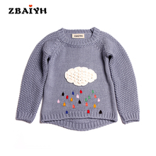 Spring Warm Fashion Baby Sweaters Girls Embroidered Clouds pullovers For Kids jumpers Hand Knitted Christmas Sweaters Boys Tops