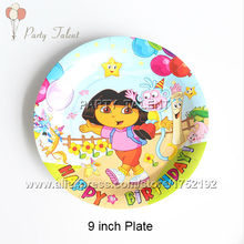 Party supplies 12PCS 9inch children kids DORA THE EXPLORER theme party decoration disposable tableware paper plate