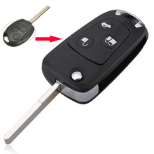 FGHGF for 3button blank modified flip folding remote key shell for Ford Focus (white button) With logo