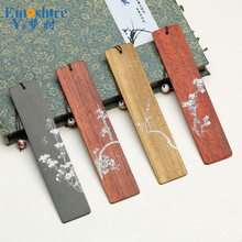 Flowers Painted Red Wood Bookmarks Set Ebony Wood Creative Custom BookMarke Lettering you Logo Name M039(China)