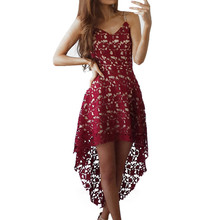 Women Floral Lace Dresses SleeveLess Party Casual Color Red White Knee-Length Dress V-Neck Summer Formal Swing Irregular Dres(China)