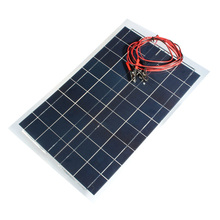 12V 30W 540x350mm PolyCrystalline Solar Cells Solar Panel with Alligator Clip Wire 4m Multi-fuctional Battery Charger