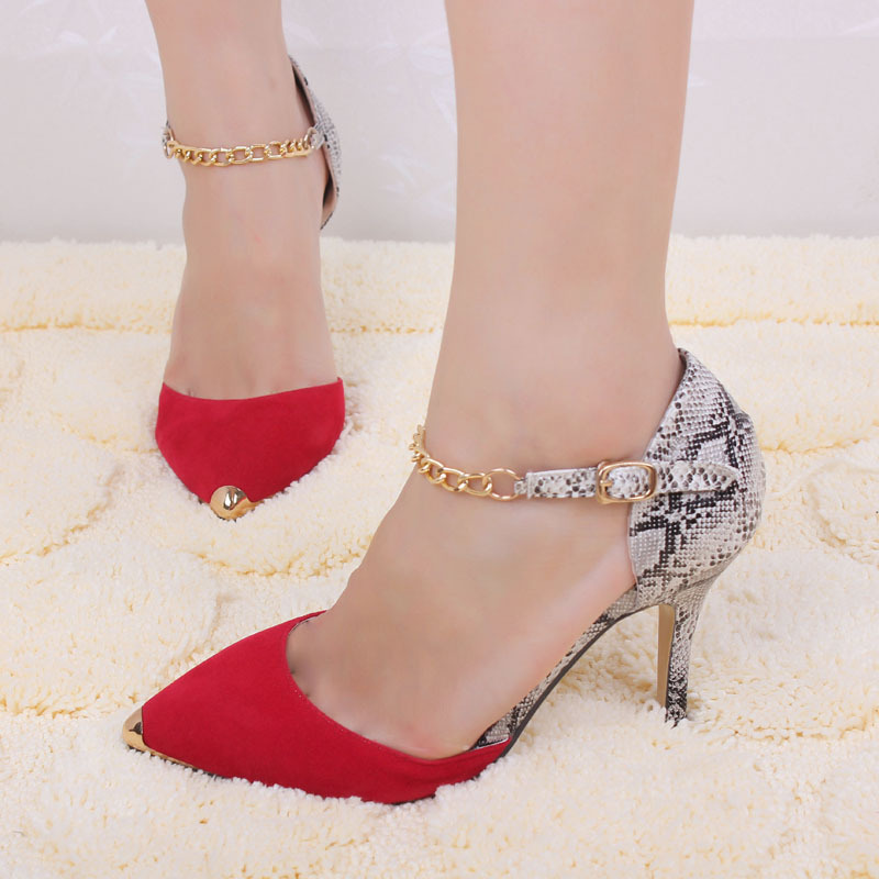 2017 Autumn Sexy Women Sexy Metal Chain Pointed Toe 3 Inch Highs Heel Ladies Pumps Shoes Woman Sandalias Mujer Sandales Femme 38<br><br>Aliexpress