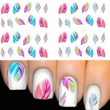 2017 New arrival 5pcs Feather 3D Nail Art Water Transfer Sticker Decal Nail art decorations Nailpolish Beauty Makeup tools