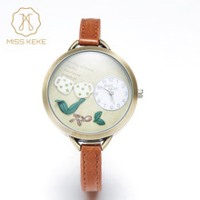 Festival Memorial Day Gift Miss Keke Real Coffee Mini World Watch Relogio Feminino Ladies Women Quartz Leather Wristwatches 62(China)