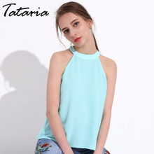 Buy TATARIA Summer Shoulder Top Sexy Halter Neck Women Tops Female Ladies Chiffon Sleeveless Blouse Women Shirt Blusas Mujer