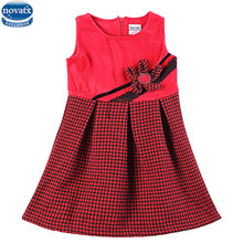 Novatx H5918  kids wear fashion design high quality wool top grid corduroy baby girl dress with flower autumn sleeveless dress