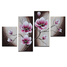 FREE SHIPPING Pure Hand-painted Oil Painting with Frame,Canvas Wall Art Elegant Pink Flowers Paints,Ready to Hang on(China)
