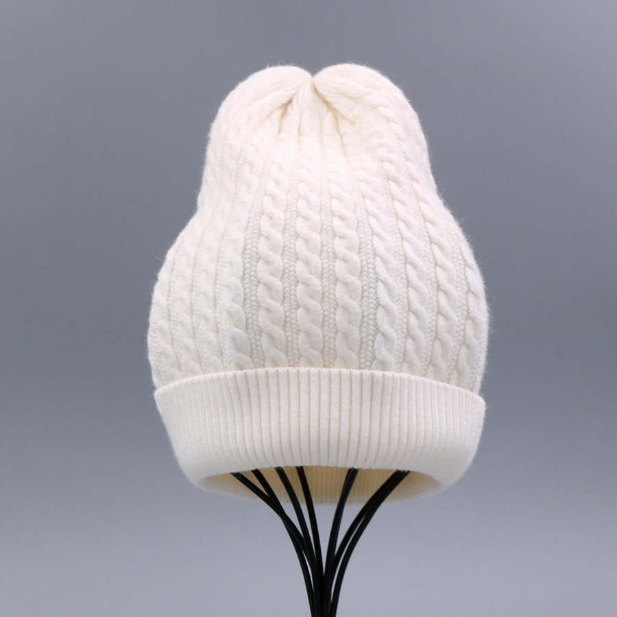 Women's Winter Hat Knitted Wool beanies Skullies Female Causal Mask Ski Thicker Warm Pompon Hats For Women  (1)