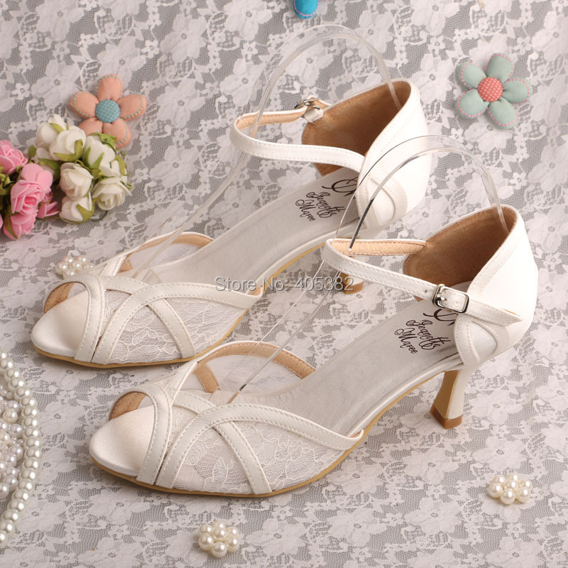 Brand Name Lace Ivory Women Sandals 2016 Wedding Medium Heel Ladies Shoes Dropshipping<br>